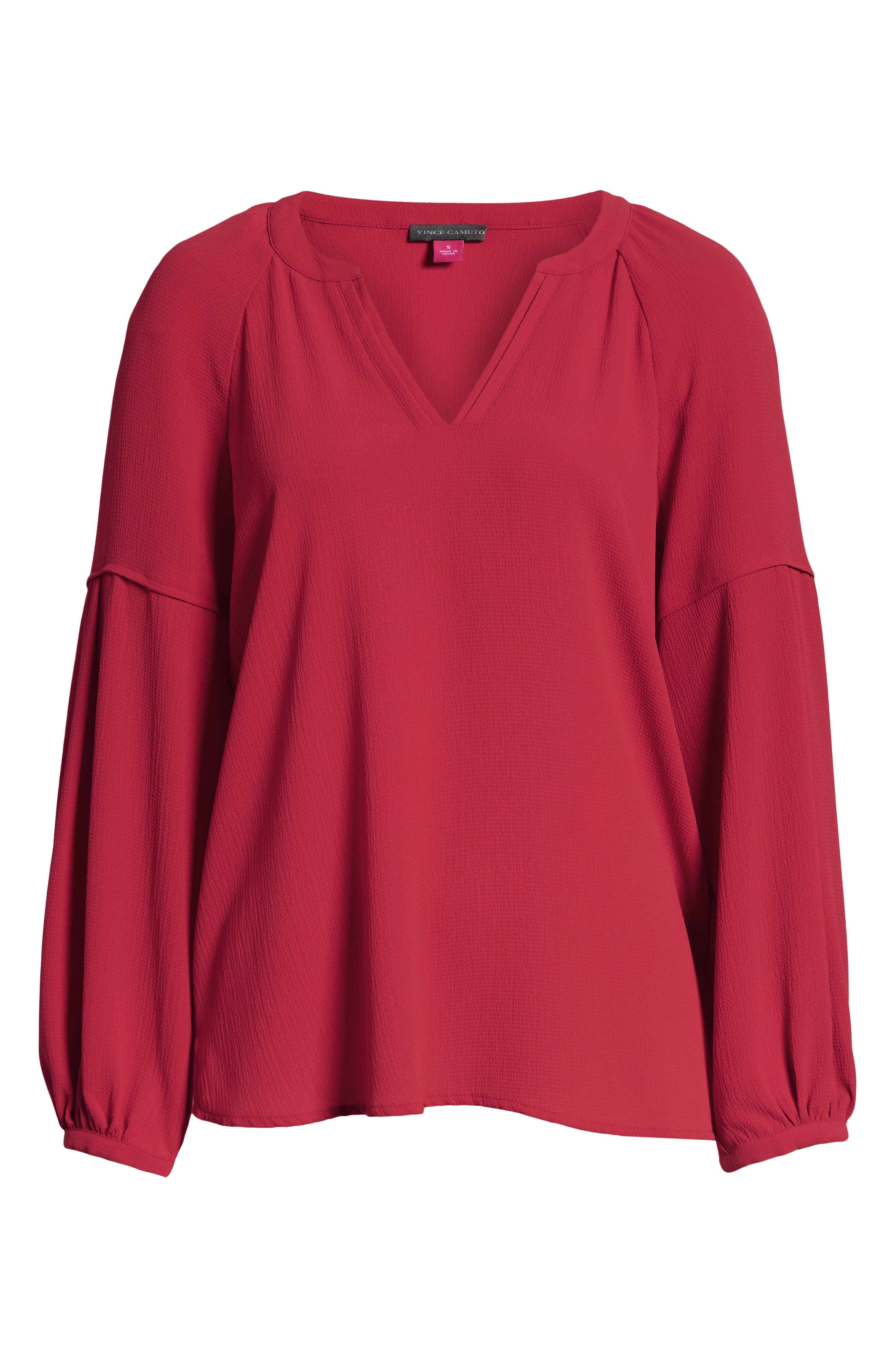 ,                             Bubble Sleeve Crepe Blouse,                             Alternate thumbnail 6, color,                             TROPICAL RED
