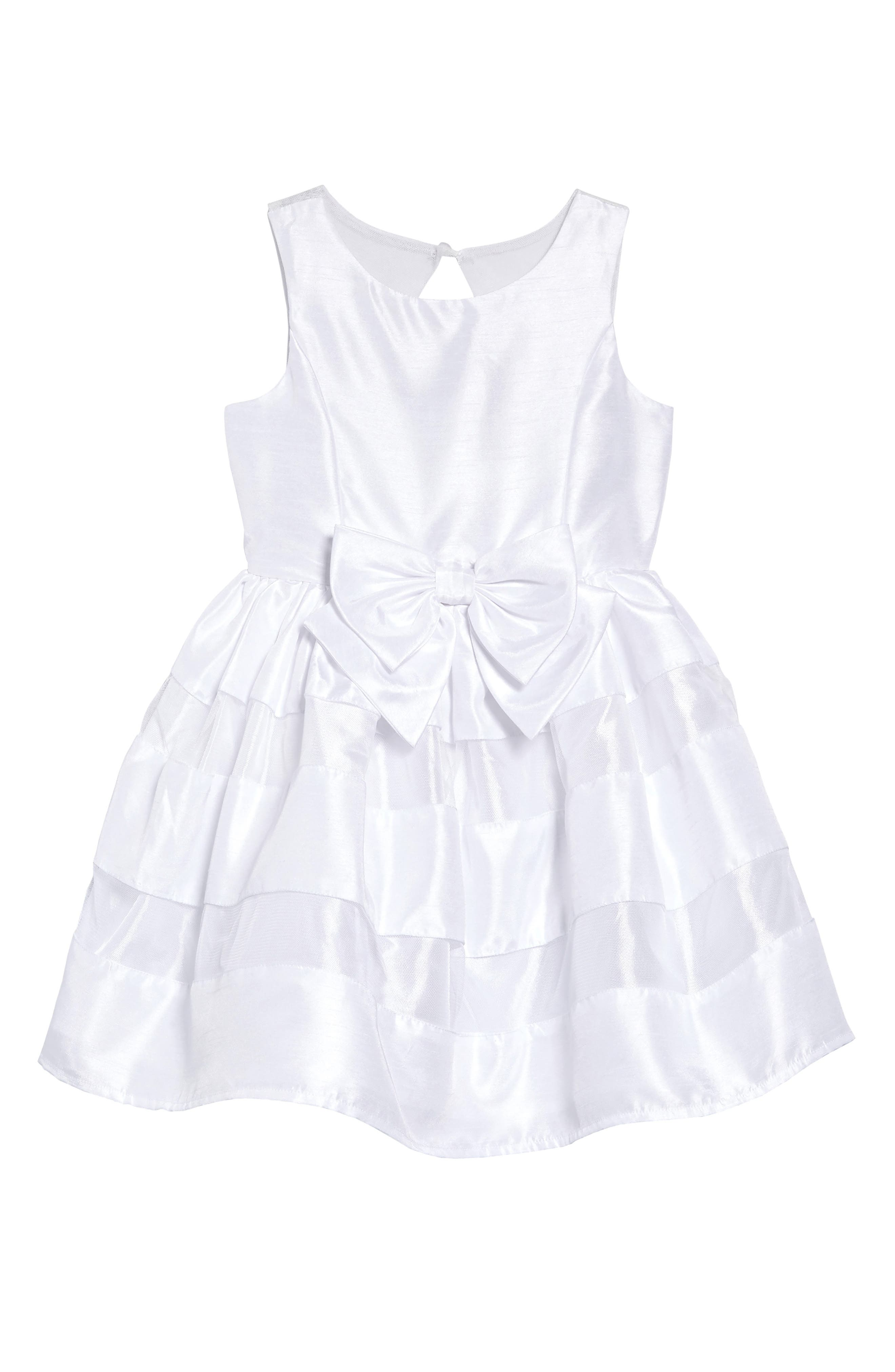 Shadow Stripe Bow Dress, Main, color, WHITE