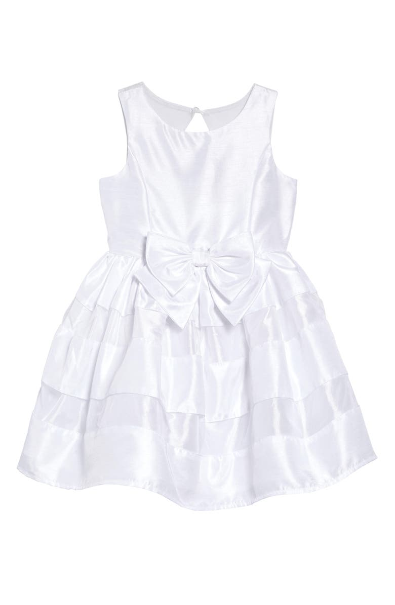 ZUNIE Shadow Stripe Bow Dress, Main, color, 100