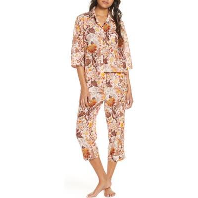 Papinelle X Karen Walker Upholstery Luxe Cotton & Silk Crop Pajamas, Red