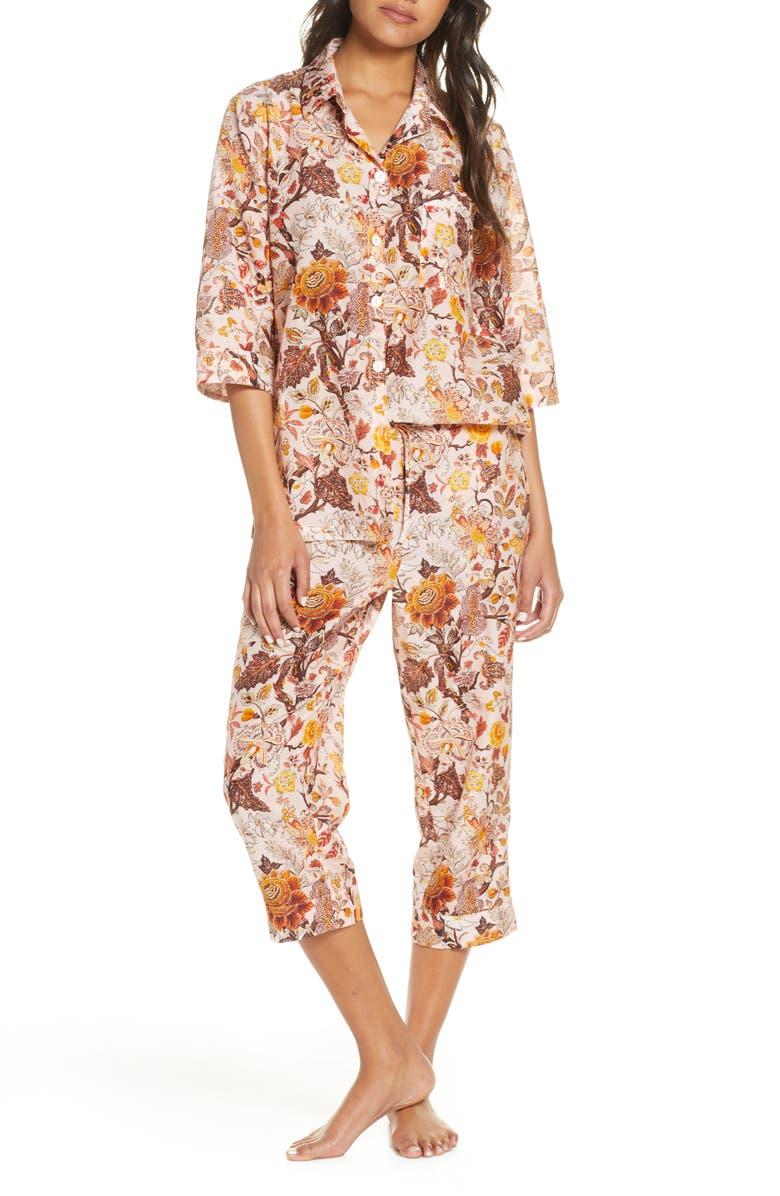PAPINELLE x Karen Walker Upholstery Luxe Cotton & Silk Crop Pajamas, Main, color, 600