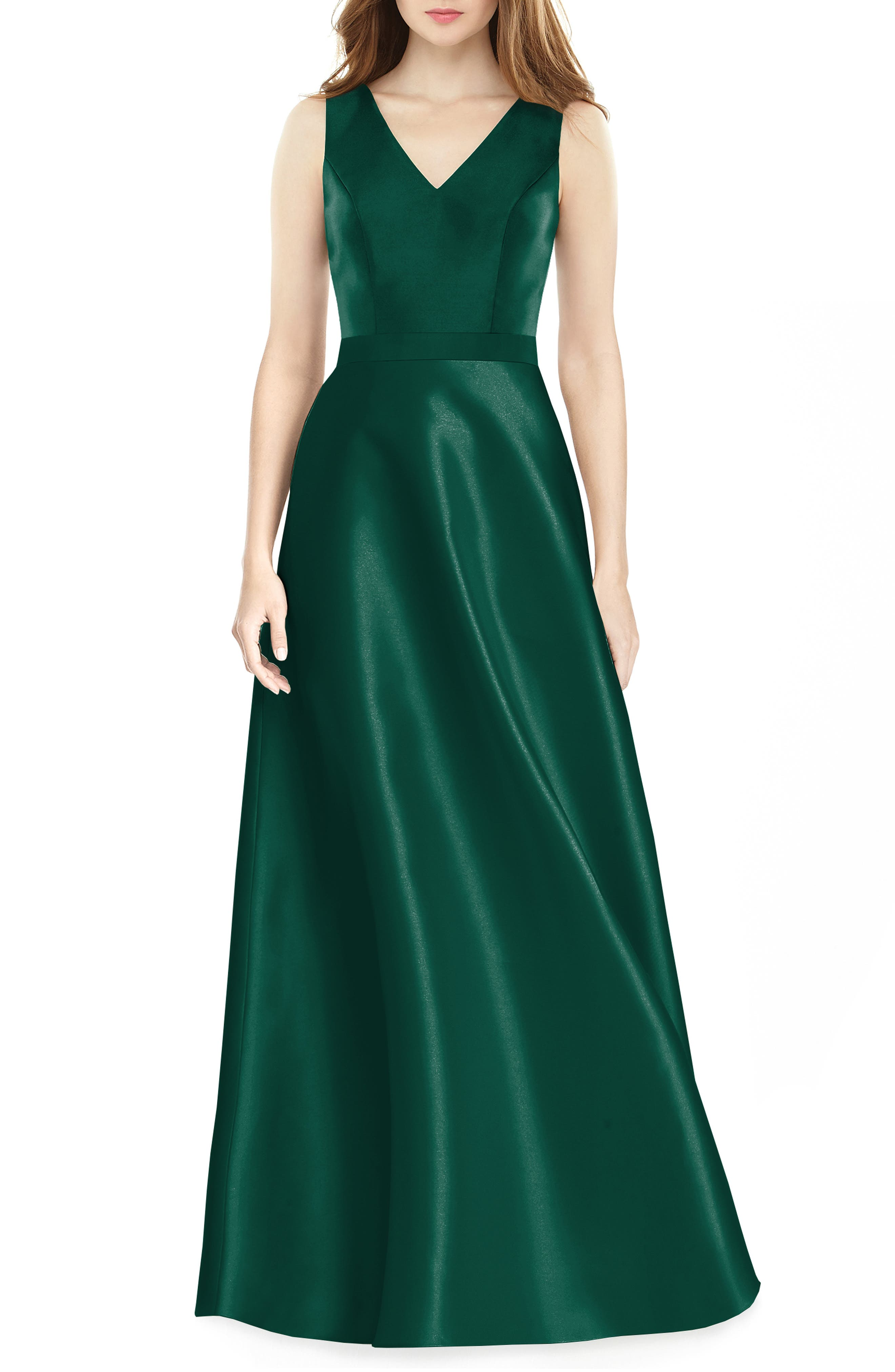 Alfred Sung Sleeveless Sateen Gown, Green
