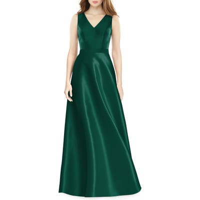 Alfred Sung Sleeveless Sateen Gown, Green