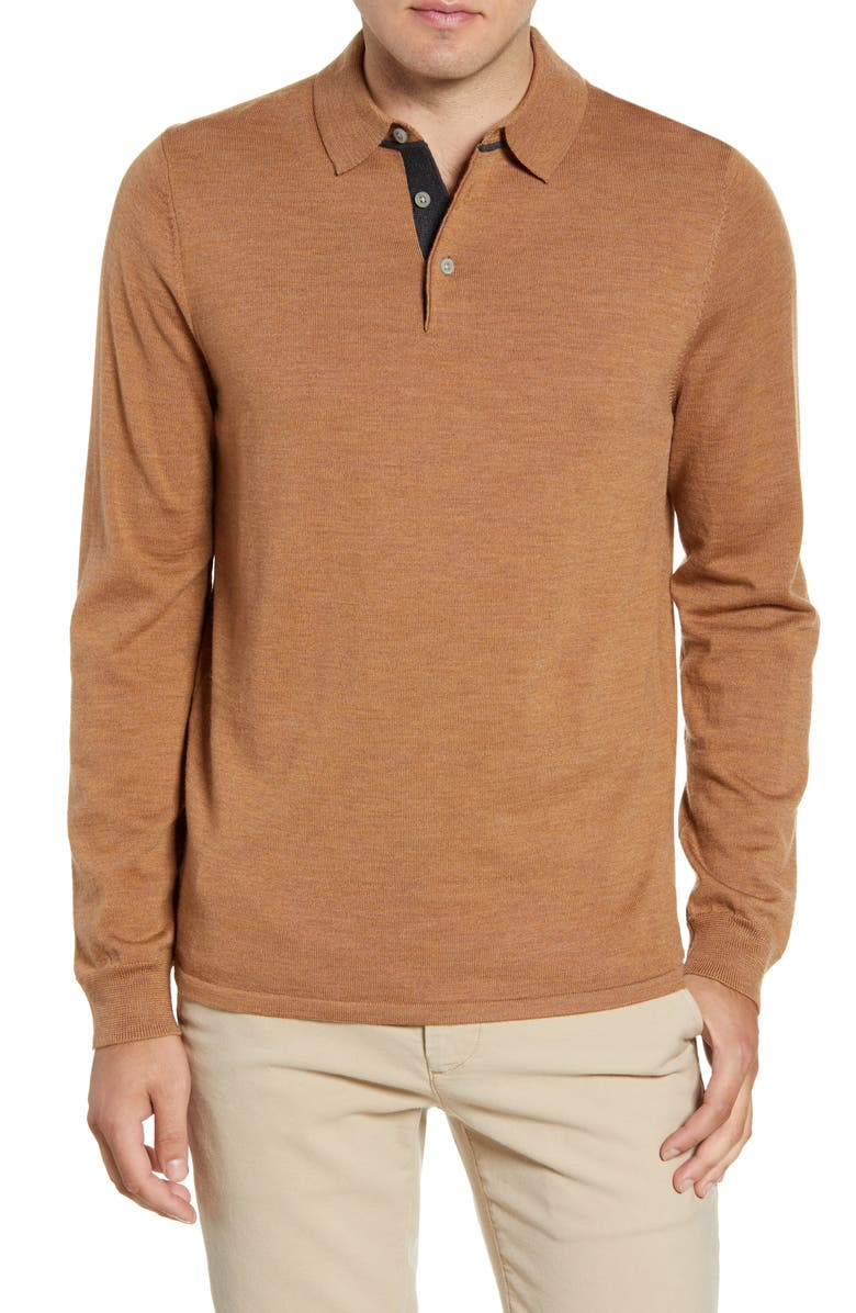NORDSTROM MEN'S SHOP Merino Wool Polo Sweater, Main, color, BROWN SADDLE HEATHER