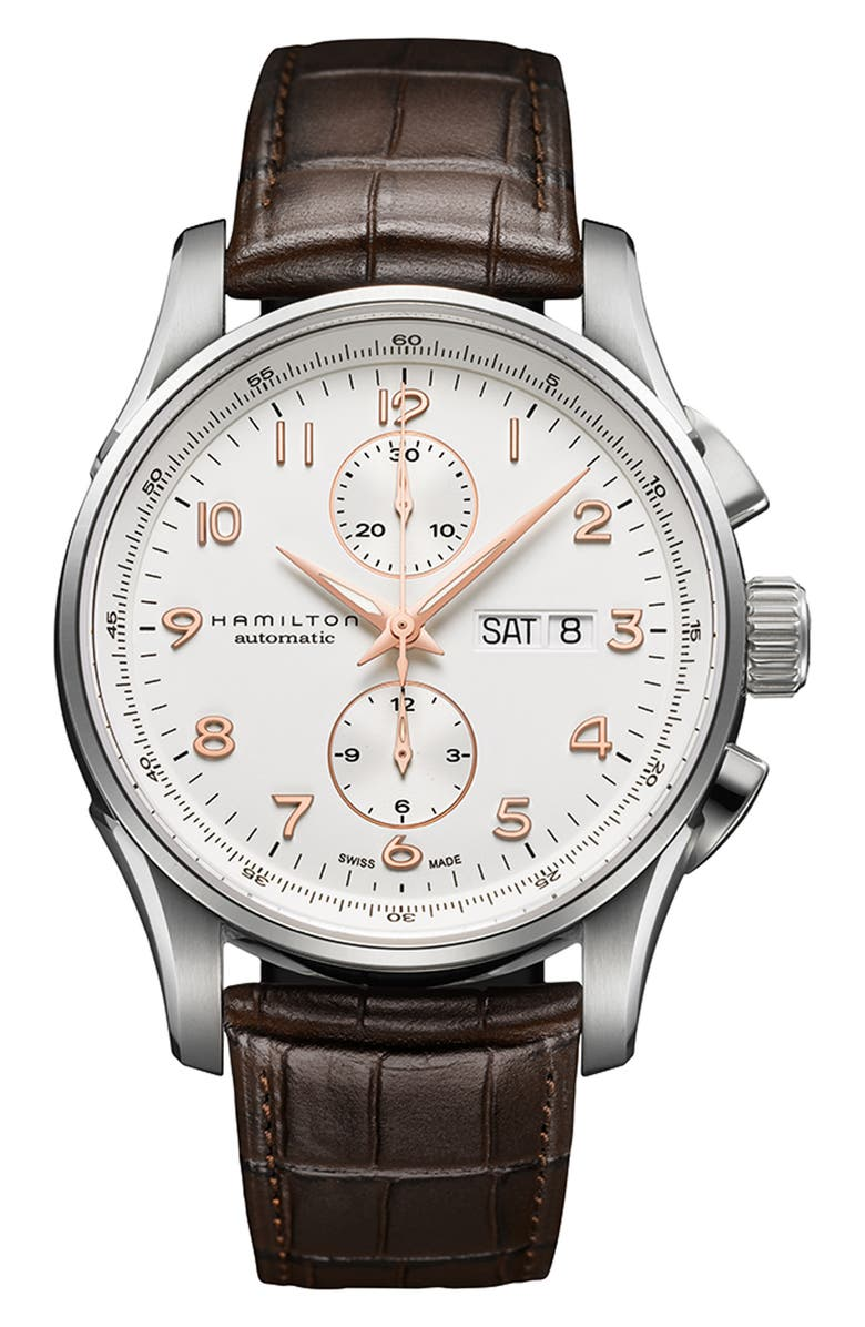 HAMILTON Jazzmaster Maestro Automatic Chronograph Leather Strap Watch, 41mm, Main, color, BROWN/ WHITE/ SILVER