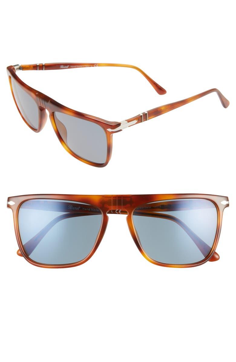 PERSOL 56mm Square Sunglasses, Main, color, BROWN/ BLUE
