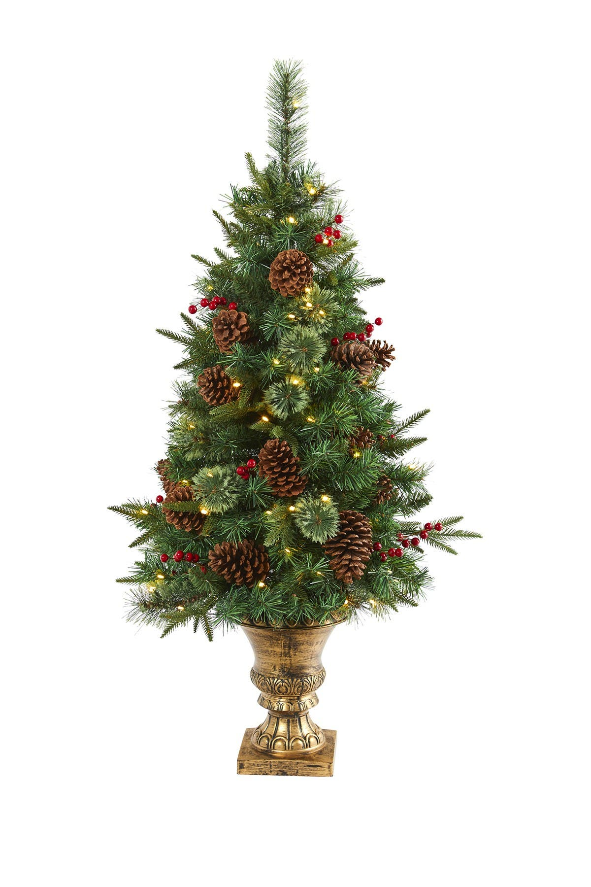 Image of NEARLY NATURAL 4ft. Pine, Pinecone and Berries Artificial Christmas Tree in Decorative Urn