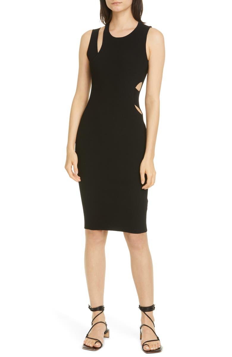 HELMUT LANG Layered Slash Rib Tank Dress, Main, color, 001