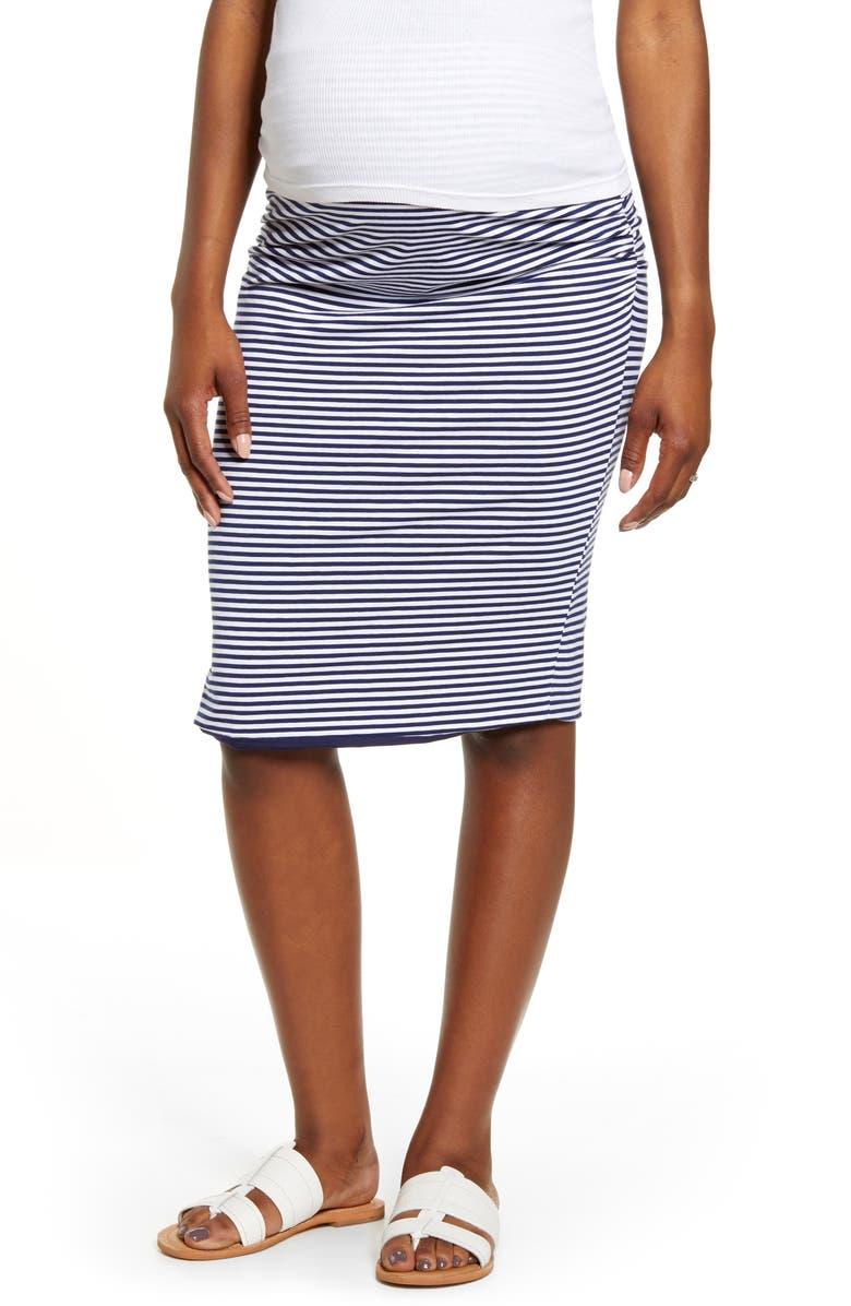 ANGEL MATERNITY Reversible Maternity Pencil Skirt, Main, color, NAVY STRIPES