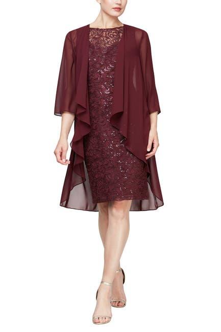 Image of SLNY Embroidered Sequin Lace Midi 2-Piece Cape & Dress Set