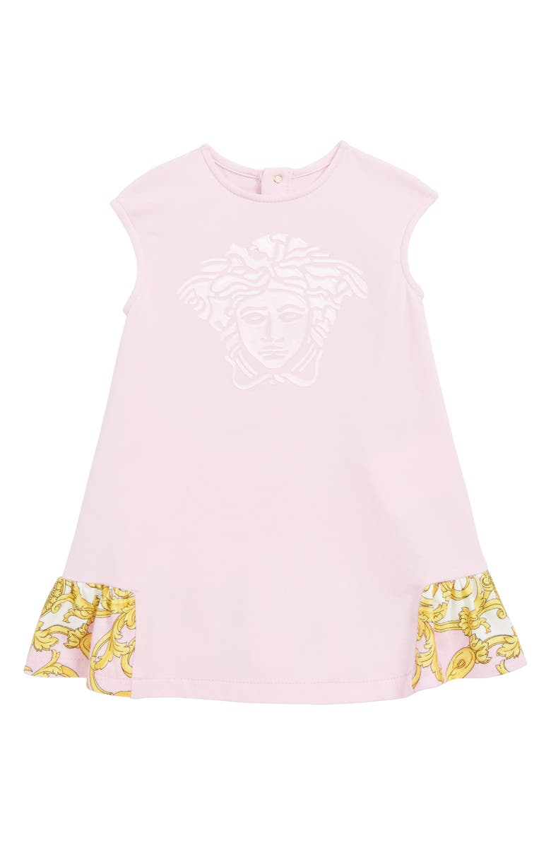 VERSACE Medusa Logo Ruffle Shift Dress, Main, color, PINK