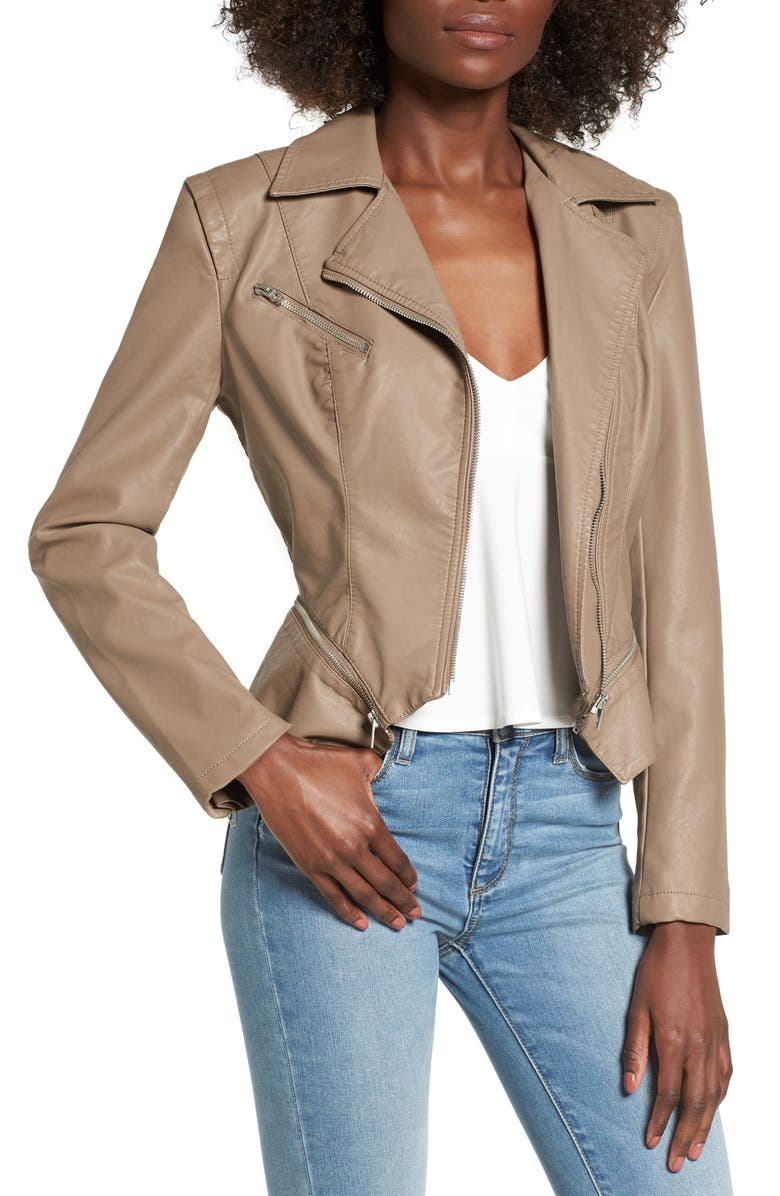 BLANKNYC Faux Leather Moto Jacket, Main, color, SAND STONER