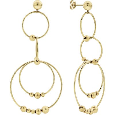 Lagos Caviar Gold Long Drop Earrings