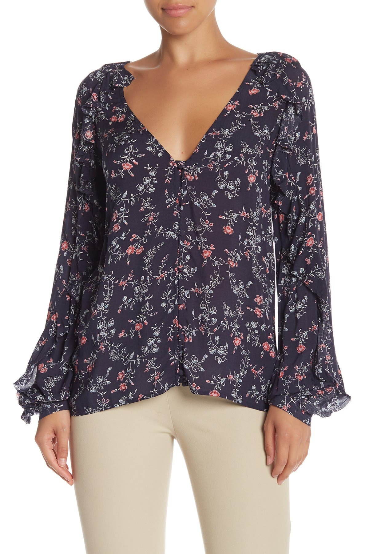 Image of PAIGE Kenna Floral Print Top