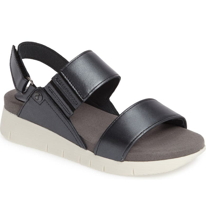 BOS. & CO. Payge Wedge Sandal, Main, color, BLACK LEATHER