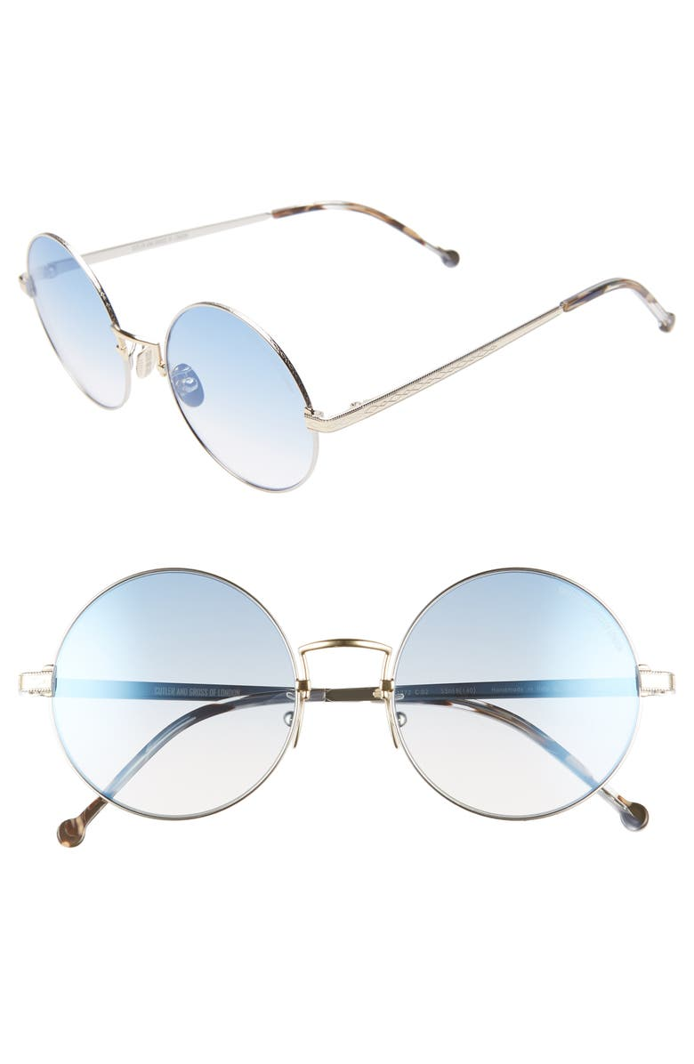 CUTLER AND GROSS 53mm Polarized Round Sunglasses, Main, color, SILIVER/ REEF BLUE
