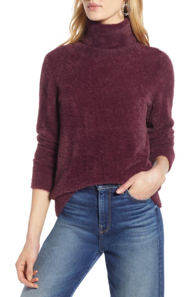 HALOGEN<SUP>®</SUP> Fuzzy Turtleneck Pullover, Main, color, BURGUNDY FIG