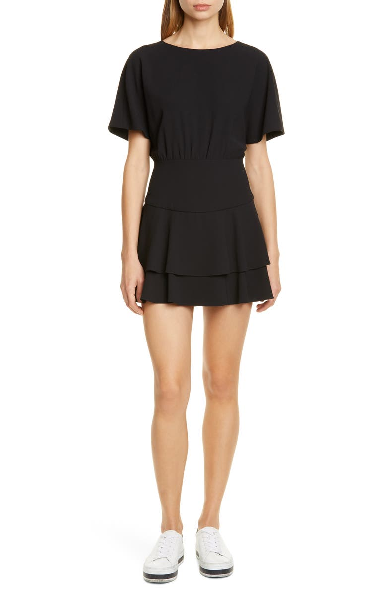 ALICE + OLIVIA Palmira Tie Back Ruffle Tiered Minidress, Main, color, BLACK