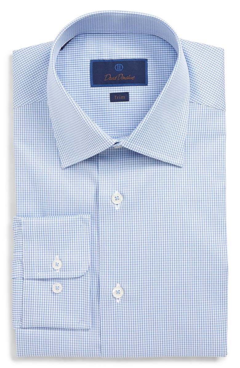 DAVID DONAHUE Trim Fit Check Dress Shirt, Main, color, BLUE