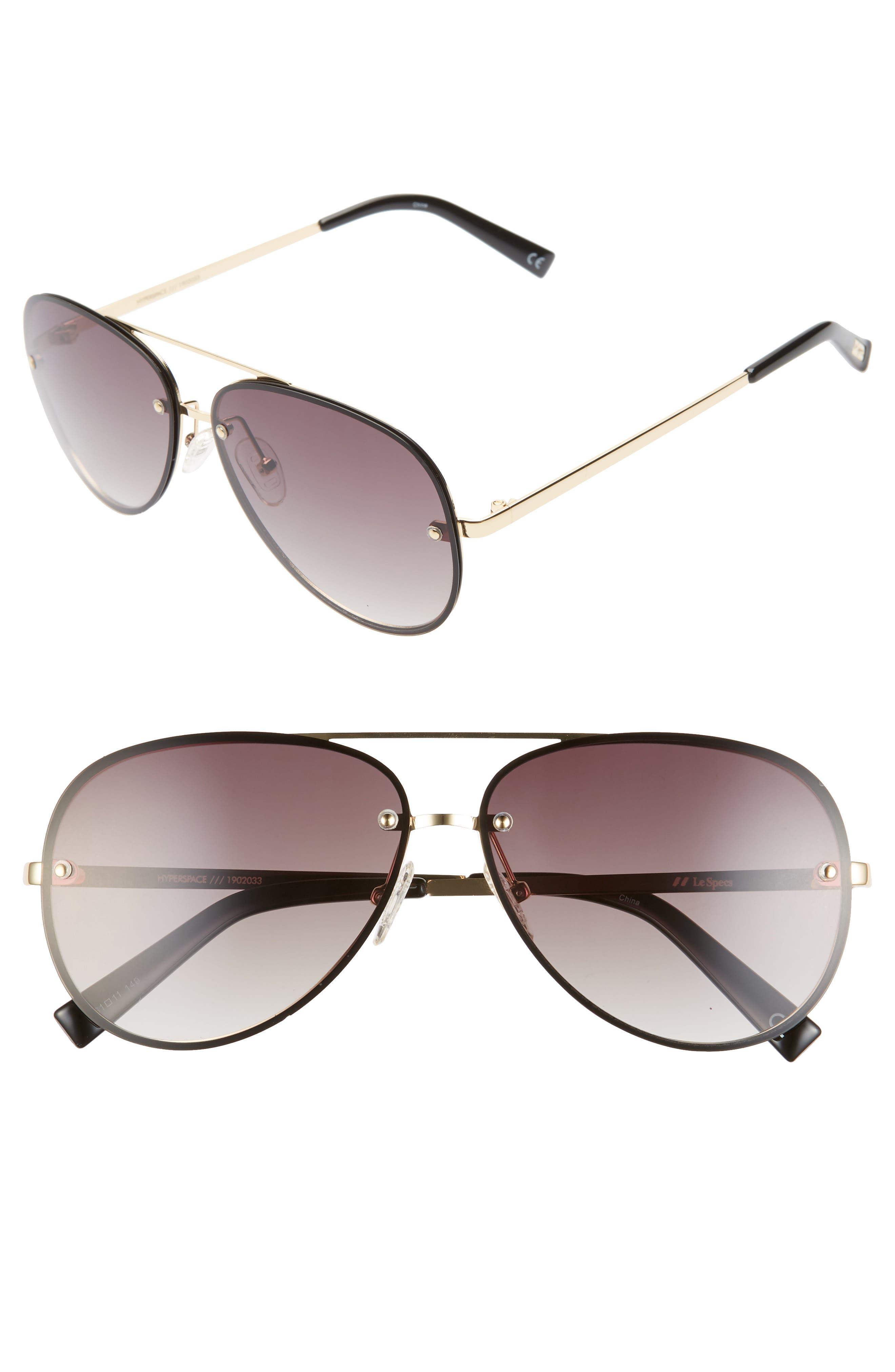 Le Specs Hyperspace 61Mm Aviator Sunglasses - Black/ Gold/ Black