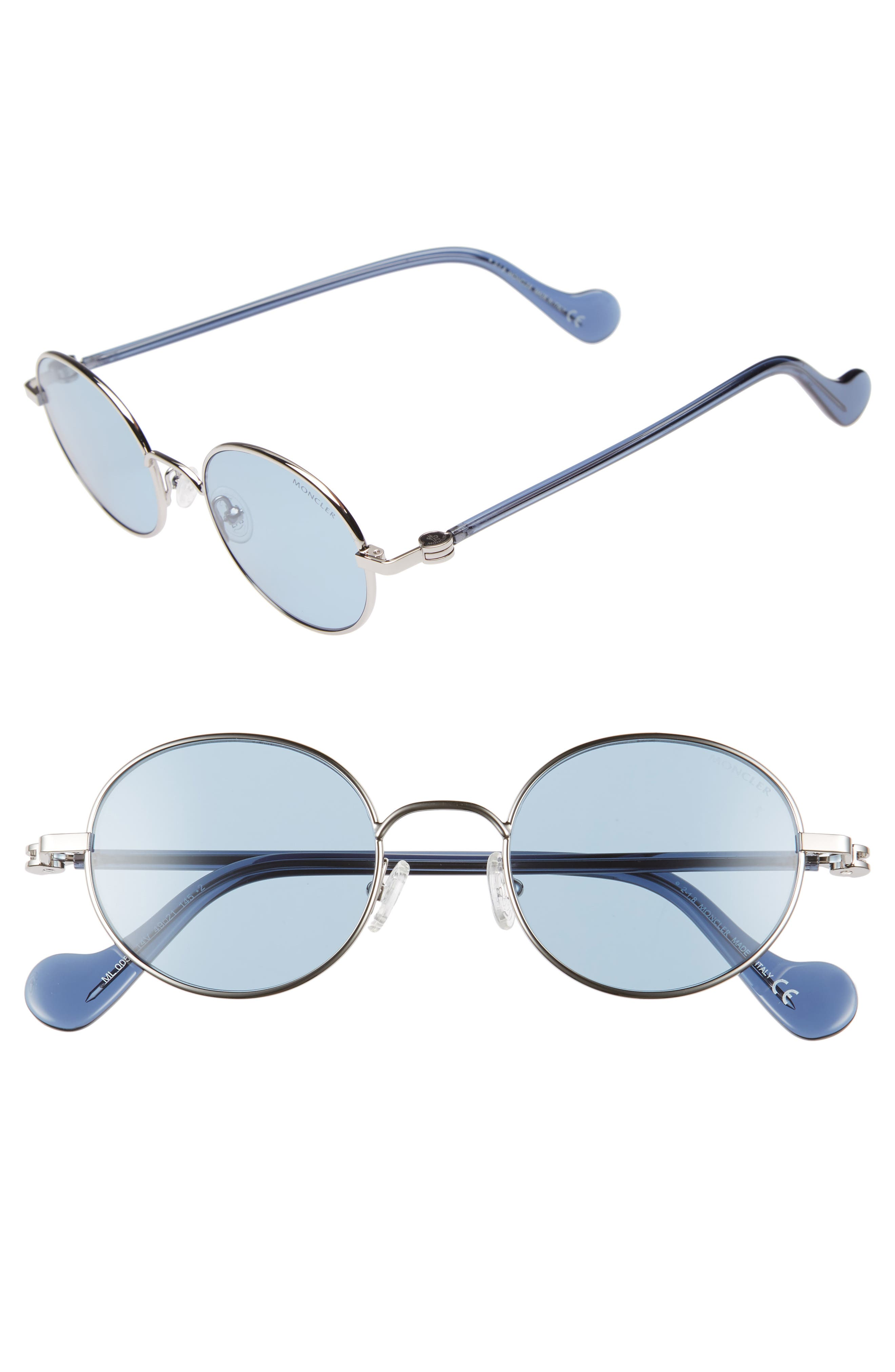 49mm Round Metal Sunglasses, Main, color, SHINY LIGHT RUTHENIUM/ BLUE