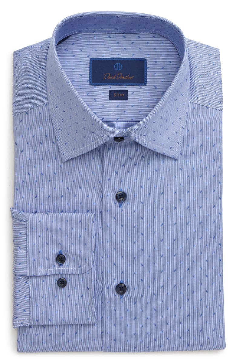 DAVID DONAHUE Slim Fit Print Dress Shirt, Main, color, BLUE