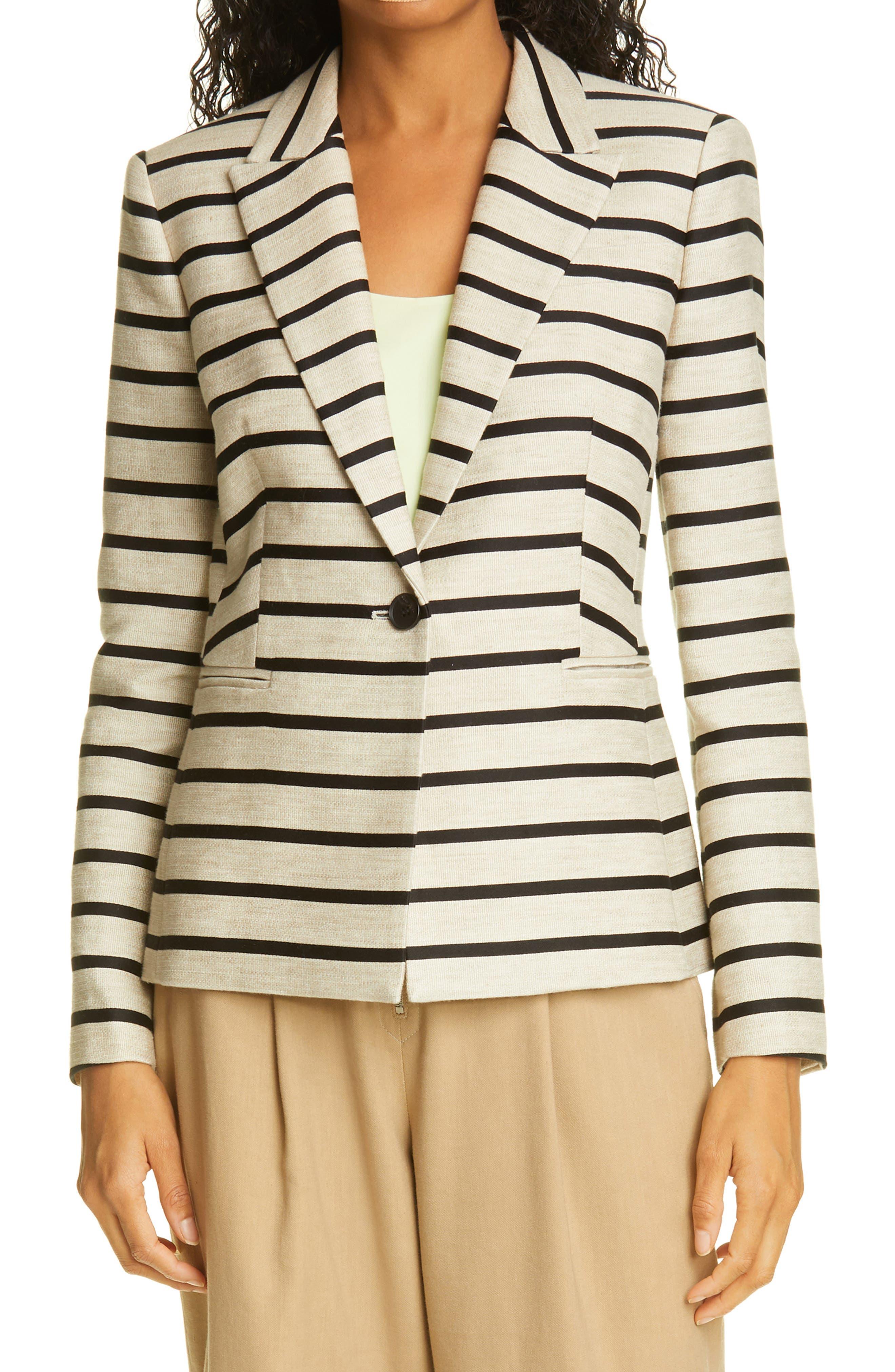Philip B Stripe Cotton & Linen Jacket