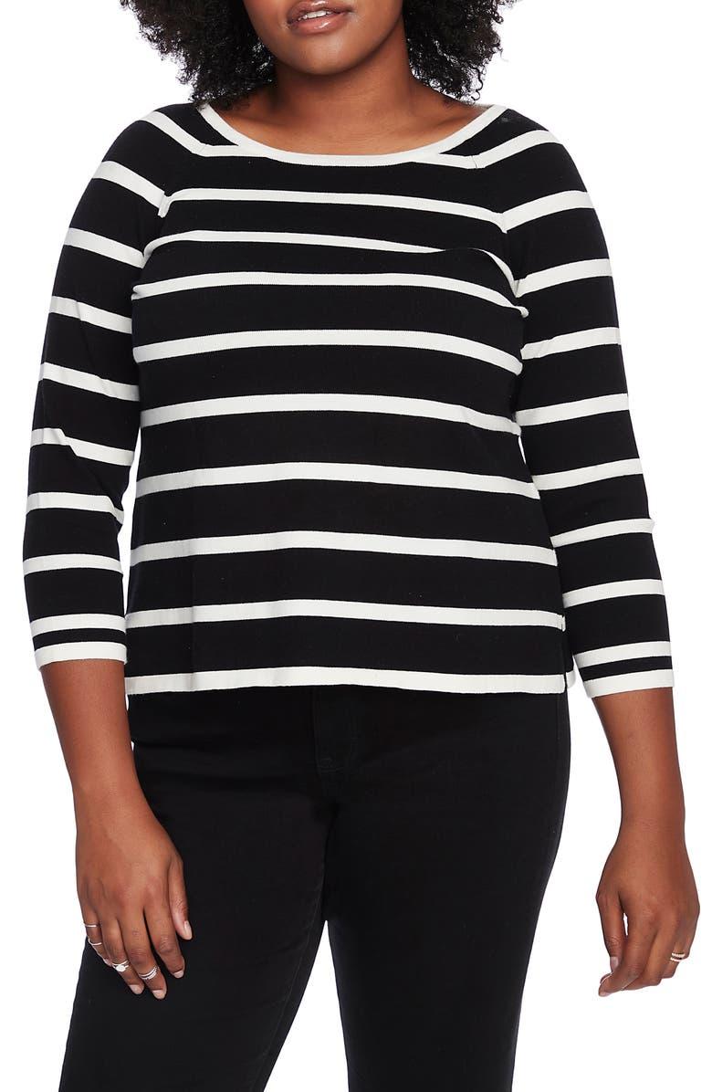 COURT & ROWE Stripe Jersey Sweater, Main, color, RICH BLACK