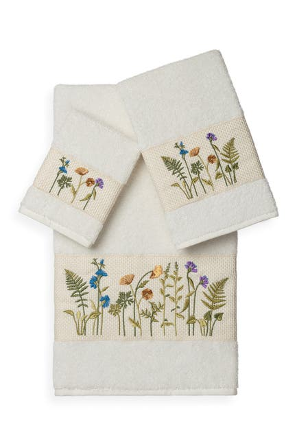 Image of LINUM HOME Serenity 3-Piece Embellished Towel Set - Cream