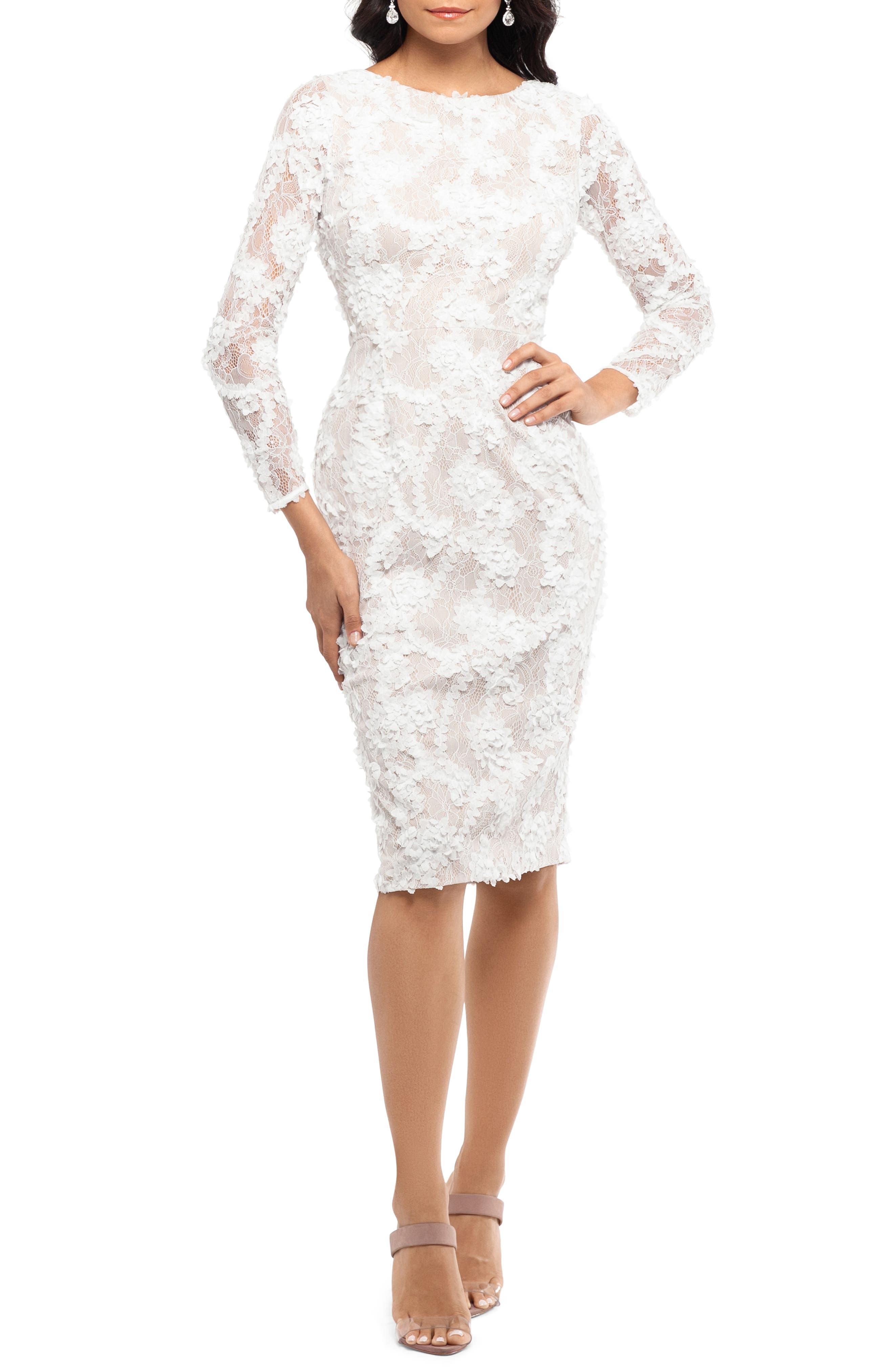 Xscape Lace Applique Long Sleeve Cocktail Dress, Ivory
