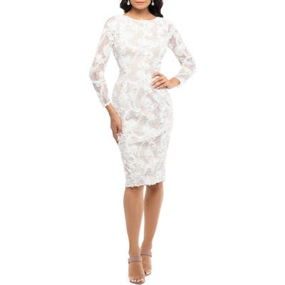 Xscape Lace Applique Long Sleeve Cocktail Dress, Ivory