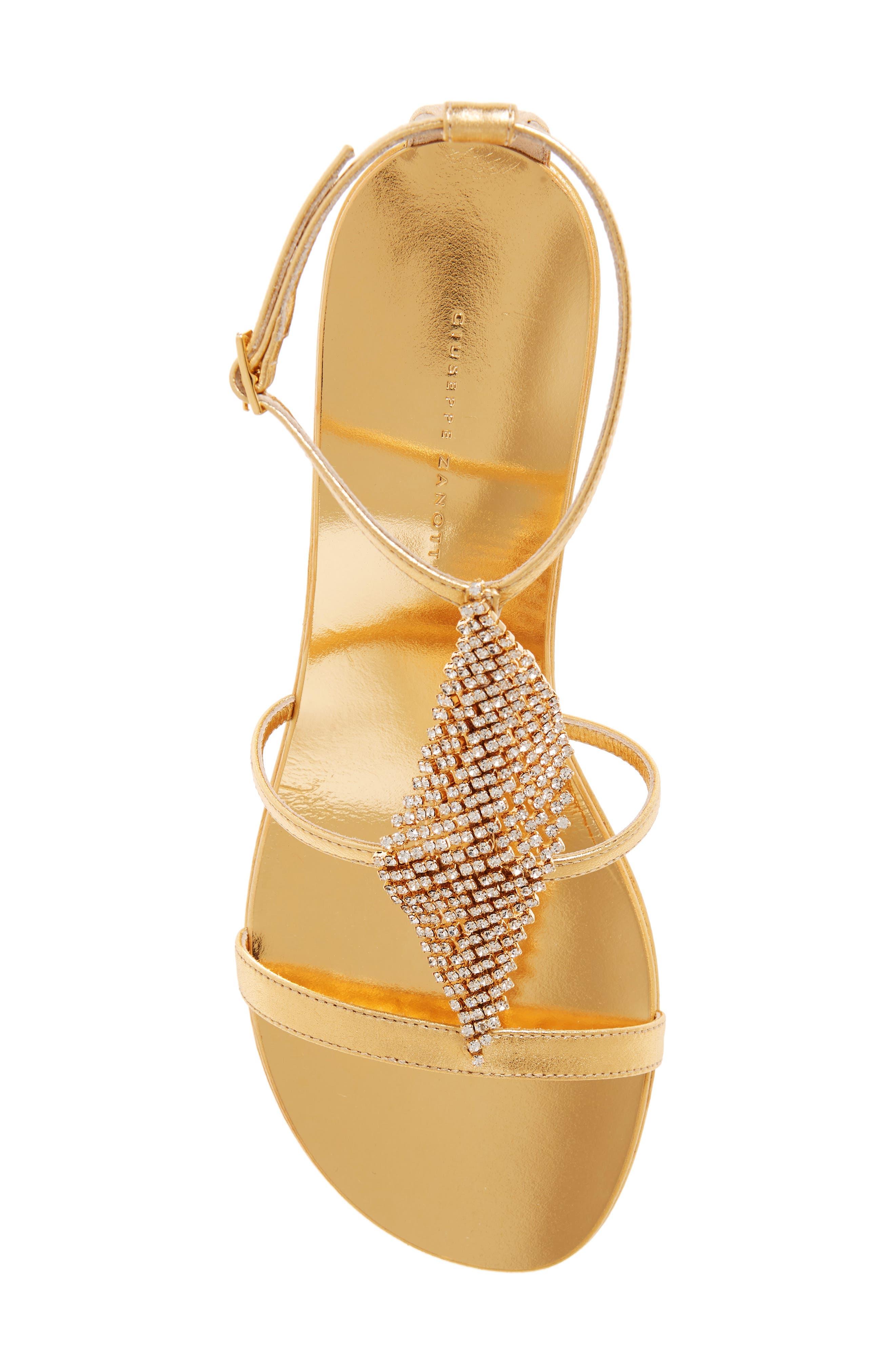 ,                             Crystal Embellished Metallic Sandal,                             Alternate thumbnail 5, color,                             GOLD