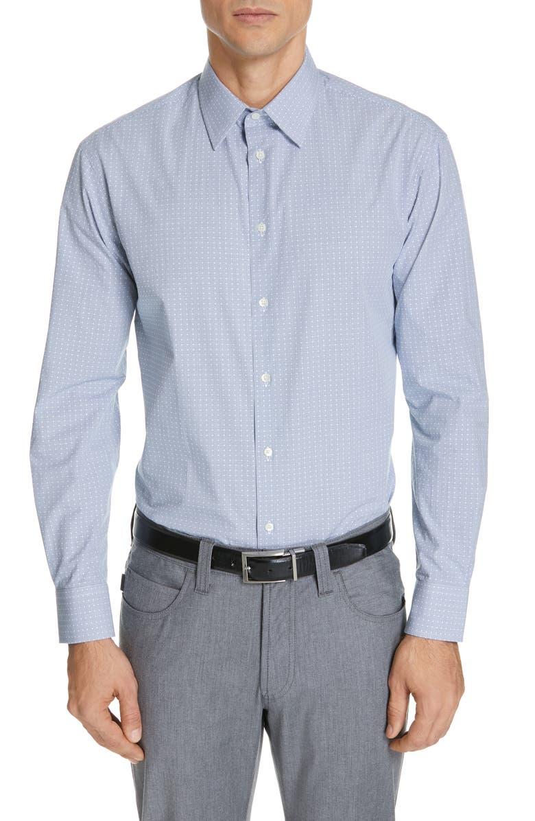 EMPORIO ARMANI Modern Fit Check Dress Shirt, Main, color, MEDIUM BLUE