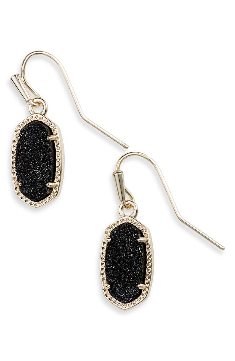 KENDRA SCOTT Lee Small Drop Earrings, Main, color, GOLD/ BLACK DRUSY