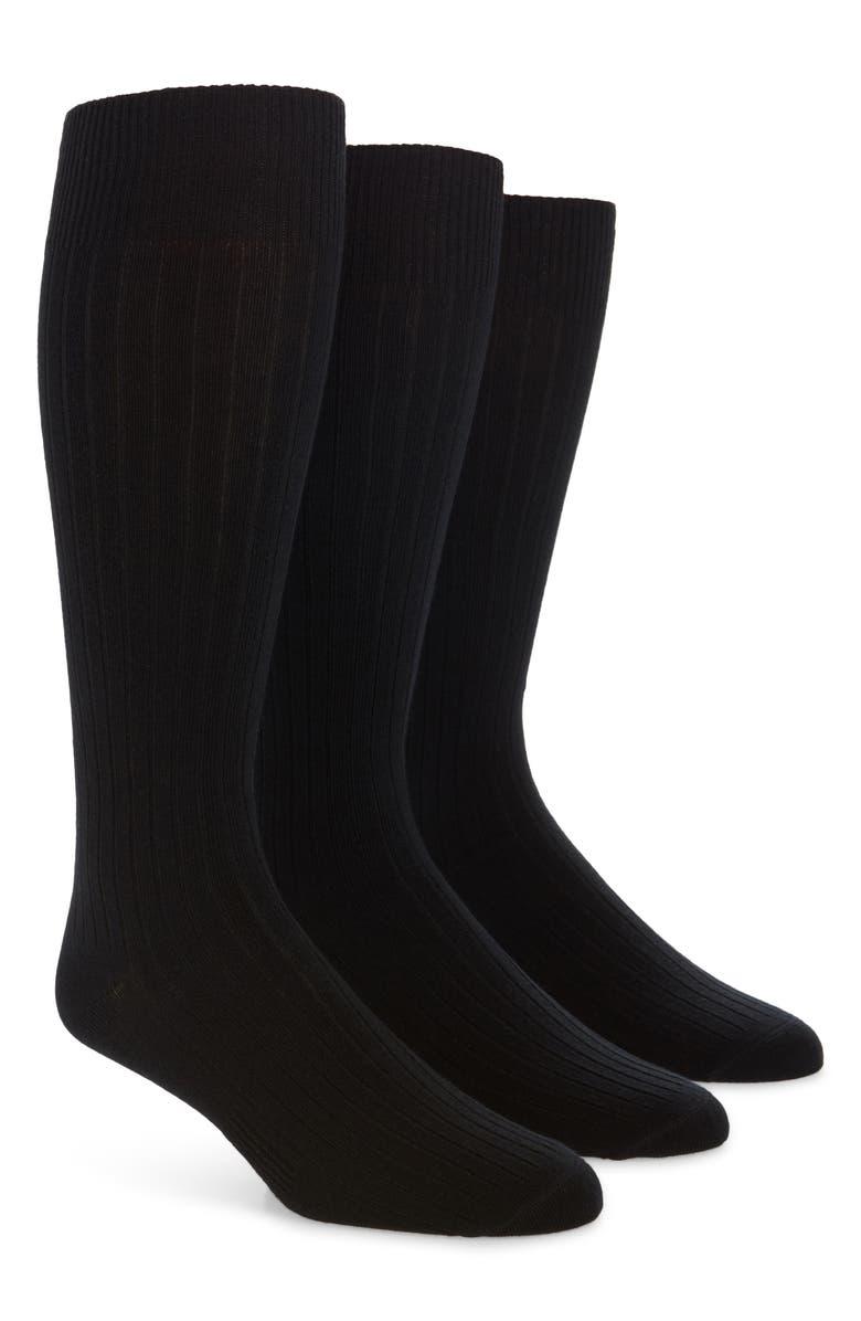 BOMBAS 3-Pack Dress Socks, Main, color, BLACK