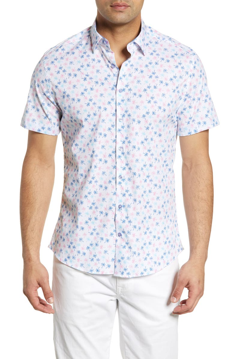 STONE ROSE Regular Fit Palm Tree Print Shirt, Main, color, PINK