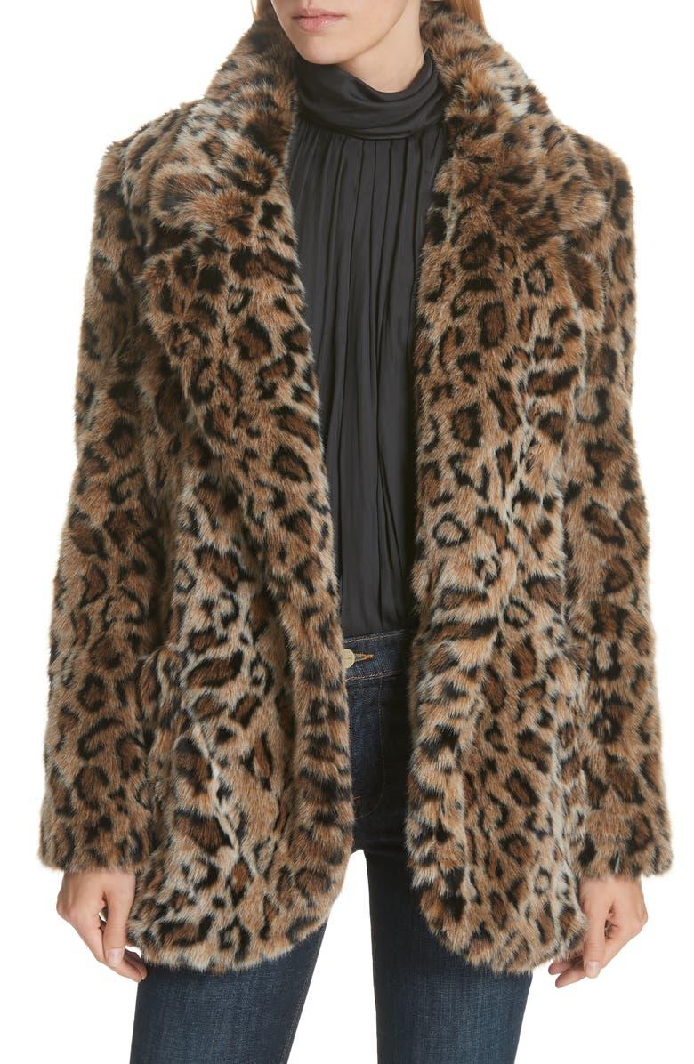 SMYTHE Leopard Print Faux Fur Coat, Main, color, 200