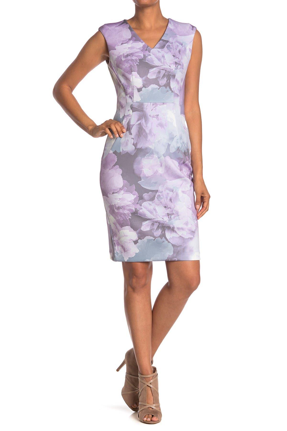 Image of Calvin Klein Watercolor Floral Sheath Dress