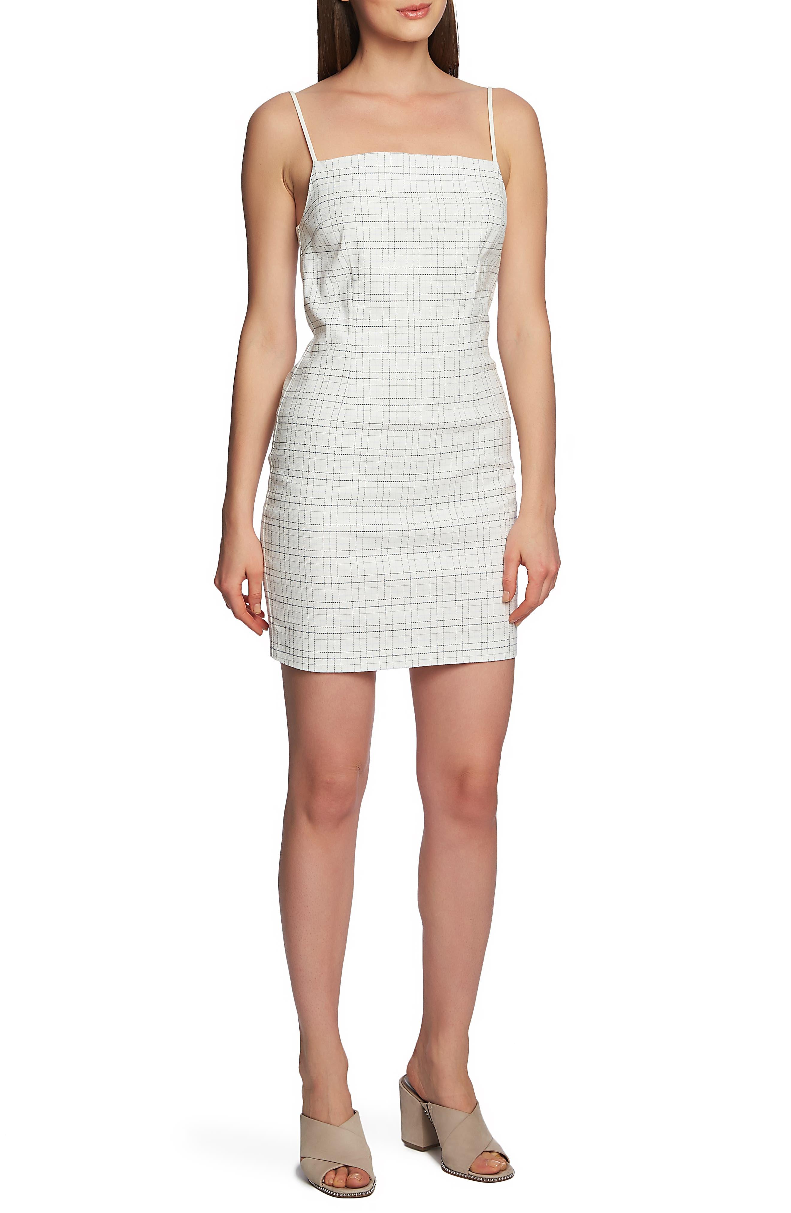 1.state Mini Windowpane Check Dress, White