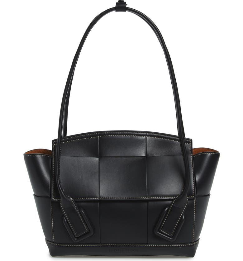 BOTTEGA VENETA The Arco 48 Intrecciato Leather Top Handle Bag, Main, color, NERO