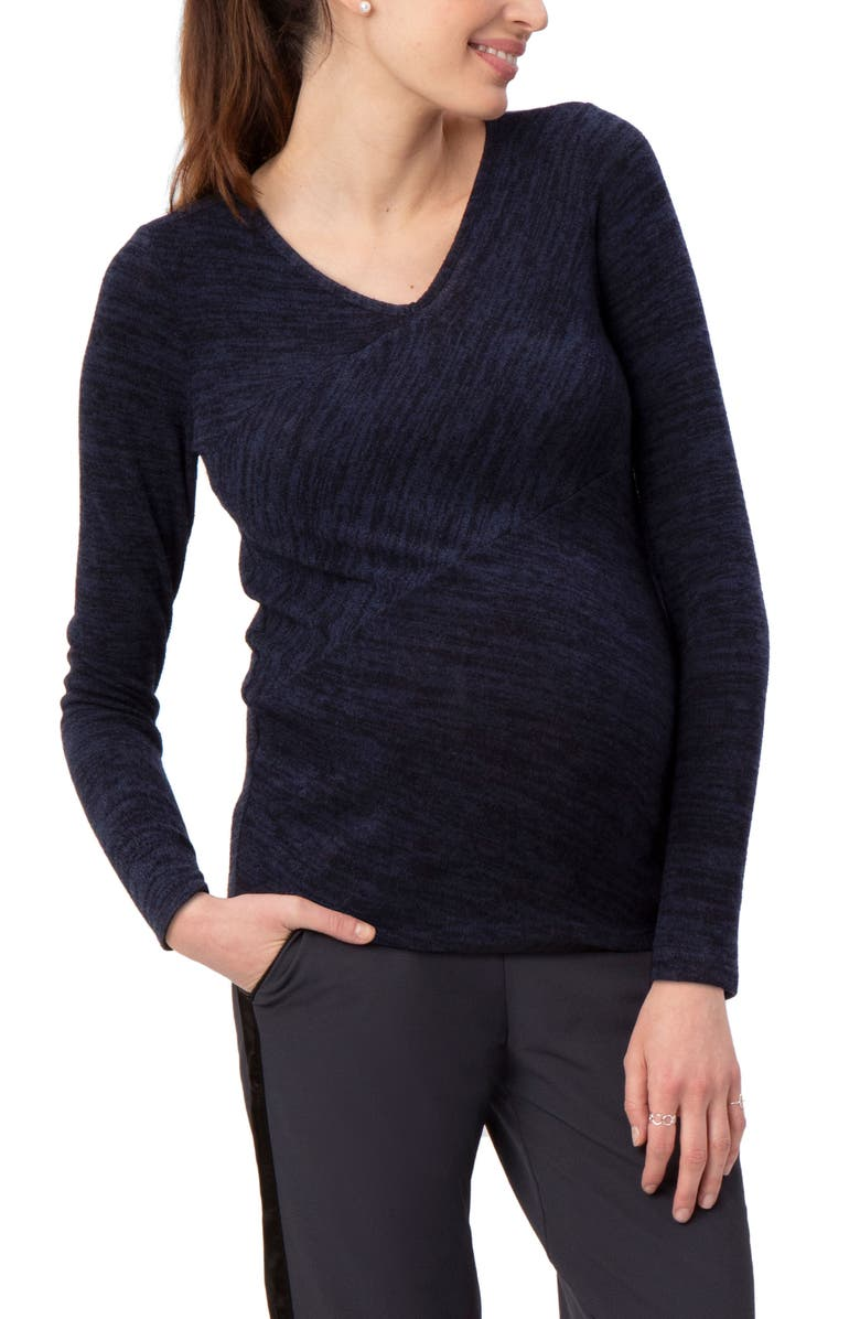 STOWAWAY COLLECTION Directional Knit Maternity Top, Main, color, NAVY