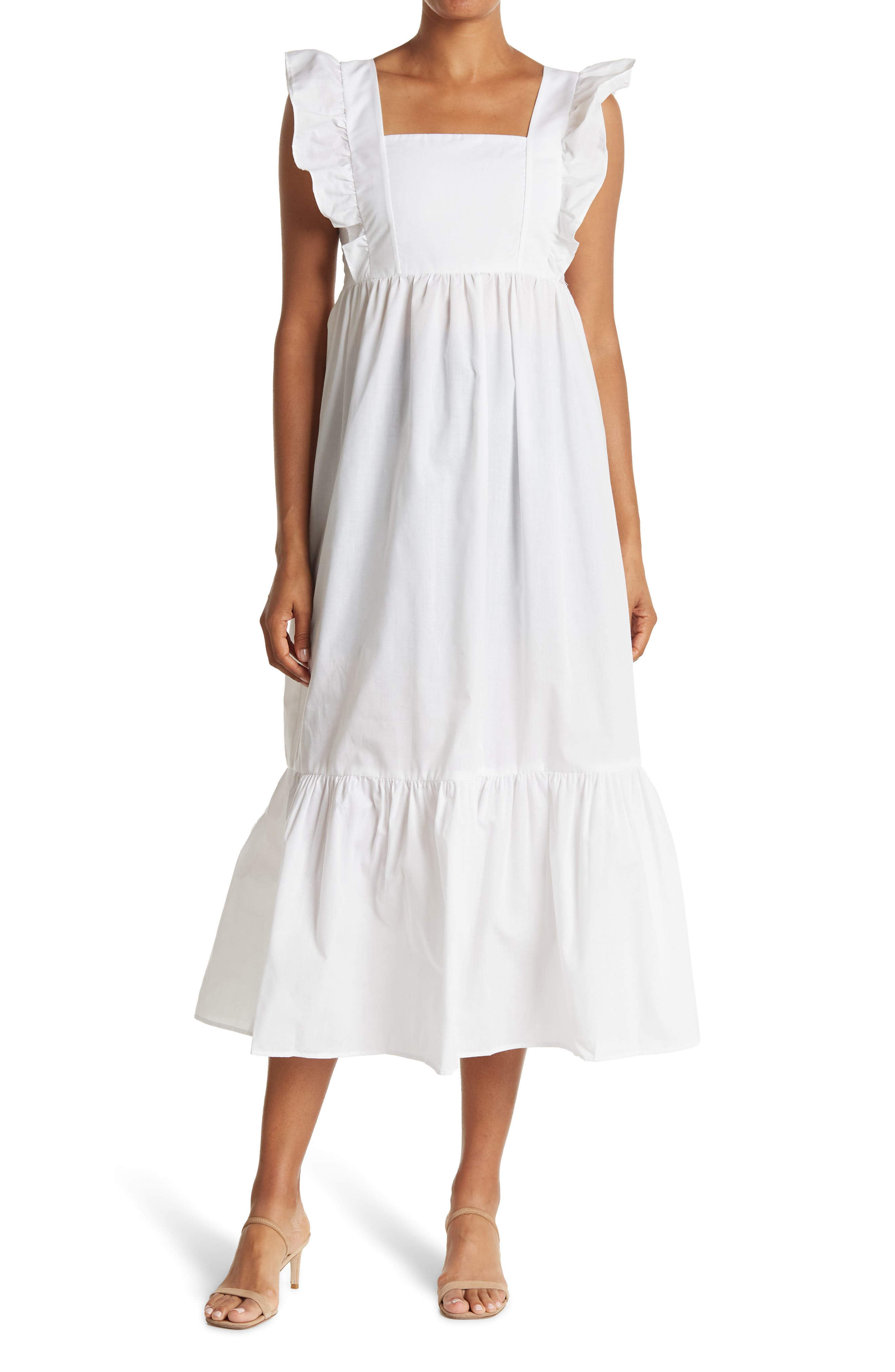 1900 -1910s Edwardian Fashion, Clothing & Costumes LOVE. ADY Poplin Flutter Sleeve Tiered Midi Dress Size Large in White at Nordstrom Rack $49.97 AT vintagedancer.com