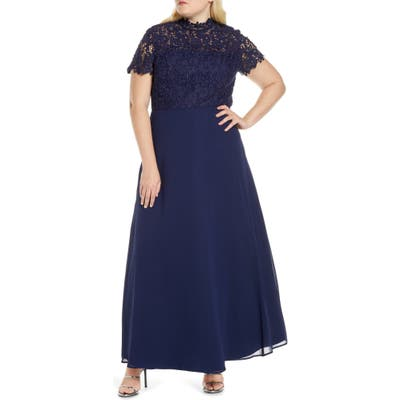 Plus Size Chi Chi London Curve Charissa Lace Bodice Chiffon Gown, Blue
