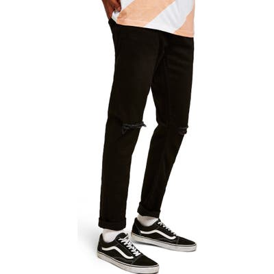 Topman Double Ripped Skinny Fit Jeans Black