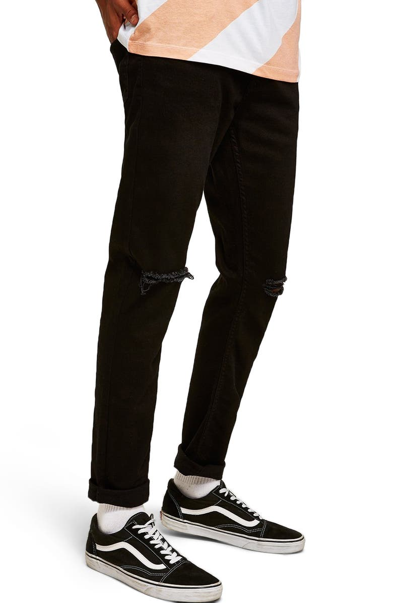 TOPMAN Double Ripped Skinny Fit Jeans, Main, color, BLACK