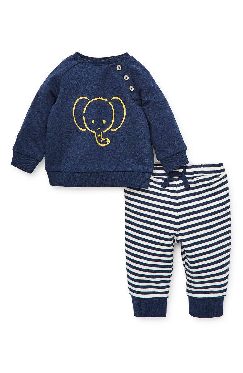 LITTLE ME Elephant Sweatshirt & Pants Set, Main, color, 457