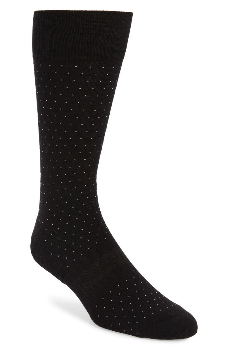 BONOBOS Bird's Eye Dress Socks, Main, color, BLACK/ WHITE