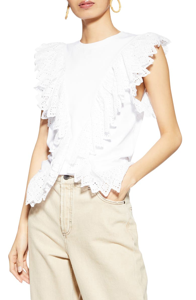 TOPSHOP Broderie Front Ruffle Tank Top, Main, color, WHITE