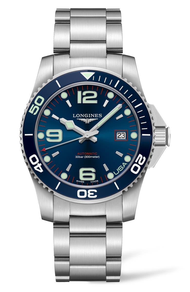 LONGINES HydroConquest Automatic Bracelet Watch, Main, color, SILVER/ BLUE