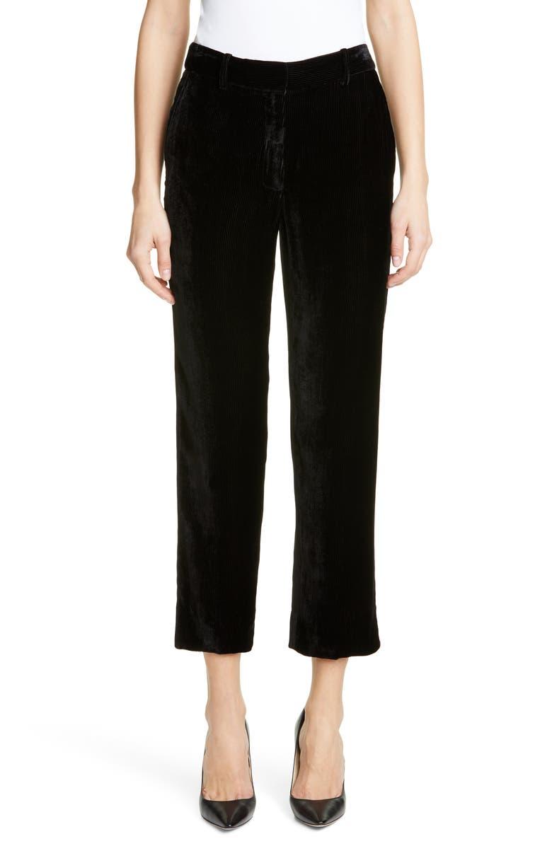 SIES MARJAN Willa Fluid Corduroy Crop Pants, Main, color, BLACK